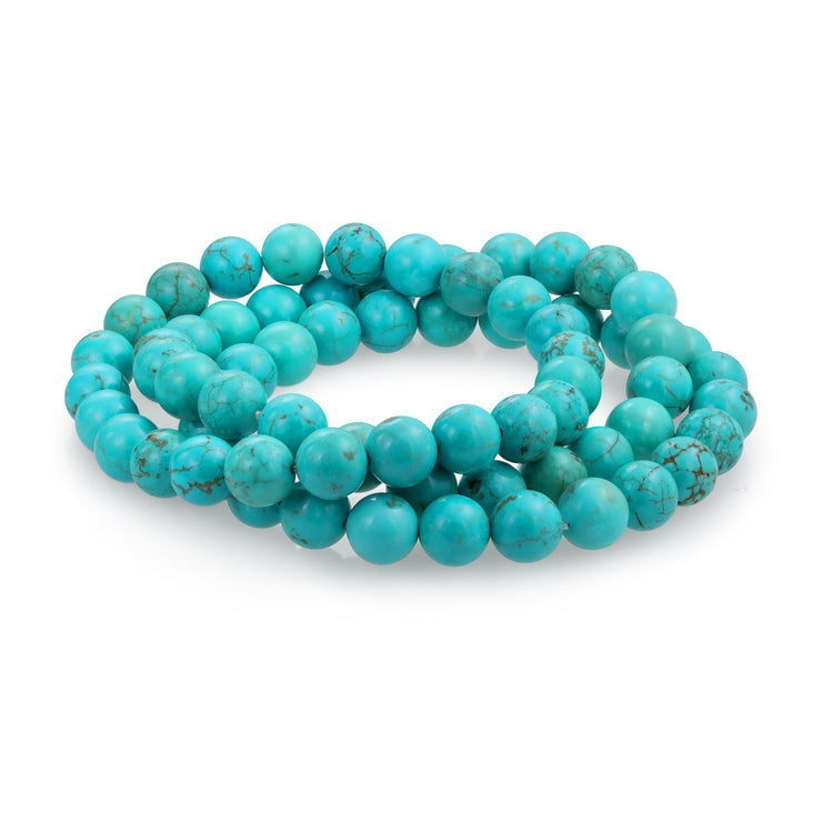3 Turquoise Ball Bead Stones Stackable Strands Stretch Bracelet
