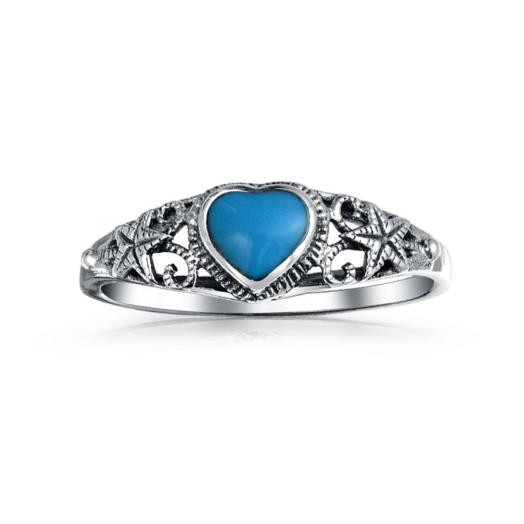 Starfish Enhanced Turquoise Heart Band Ring 925 Sterling Silver