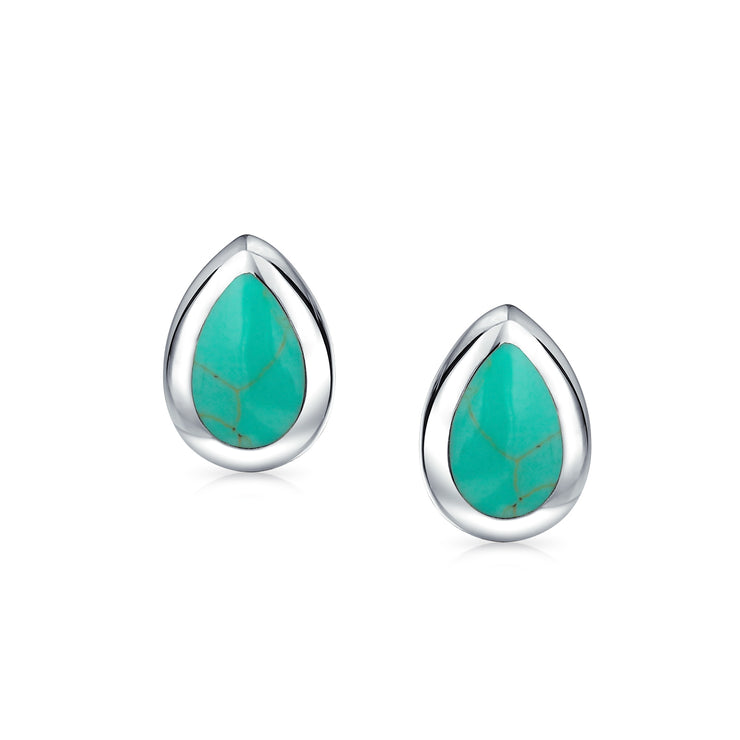 Teardrop Blue Turquoise Bezel Set Stud Earrings 925 Sterling Silver