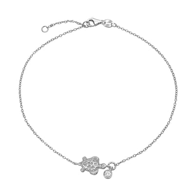 Nautical Turtle Cz Anklet Ankle Bracelet Sterling Silver