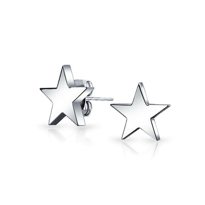 Simple Patriotic Celestial Star Stud Earrings Stainless Steel 10MM
