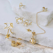 Bow Cartilage Ear Cuff Clip Earring Gold Plated Sterling Silver