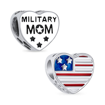 Heart Shape American Patriotic USA Flag Words Military Mom Charm Bead