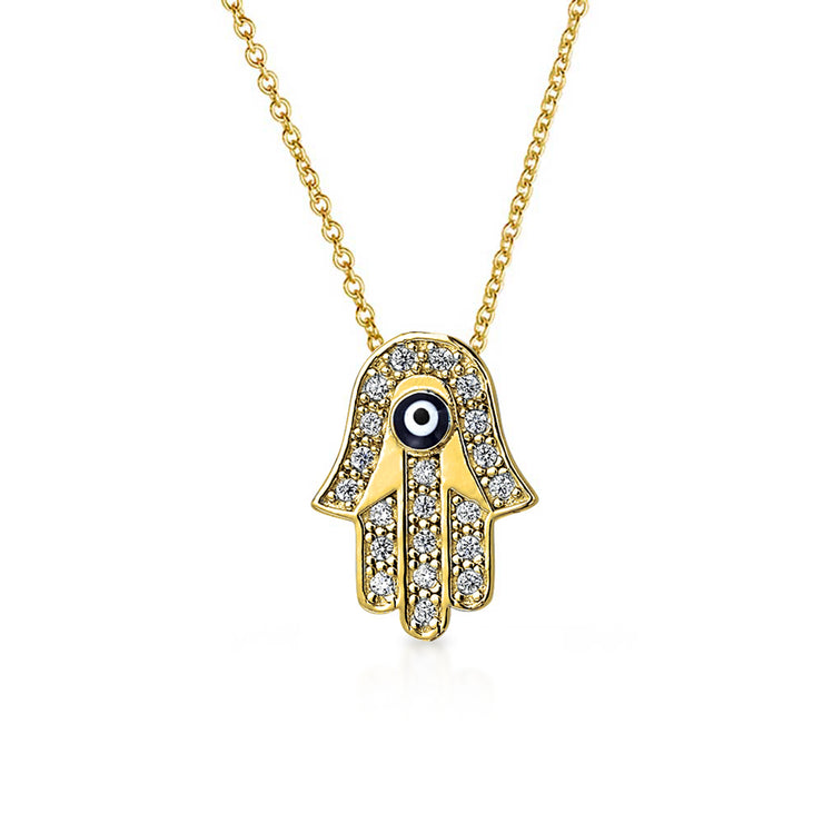 Hamsa Hand Evil Eye Pendant Necklace 12K Gold Plated Sterling Silver