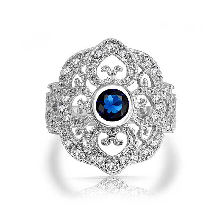 Boho Blue CZ Filigree Heart Armor Full Finger Ring Silver Plated Brass
