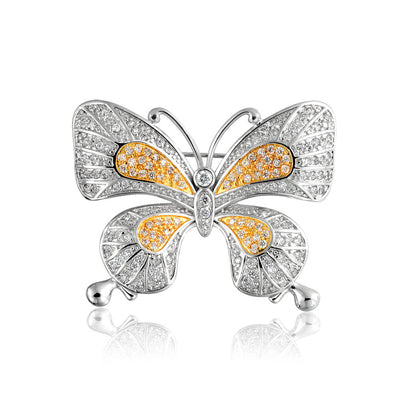 Vintage Style Yellow Golden CZ Butterfly Cubic Zirconia Brooch Pin