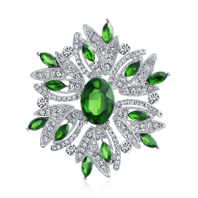 Large Statement Vintage Style Crystal Flower Green White Brooch Pin