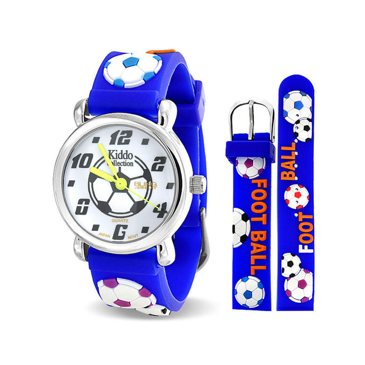 Sports Soccer Football Waterproof Wrist Watch Quartz 3D Blue Silicone