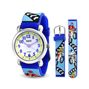 Motorcycle Dirt Bike Waterproof Wrist Watch Quartz 3D Blue Silicone