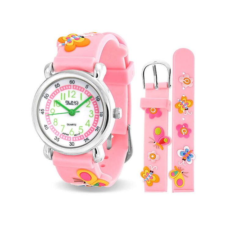 Flowers Butterfly Waterproof Wrist Watch Quartz 3D Pink Silicone Dial