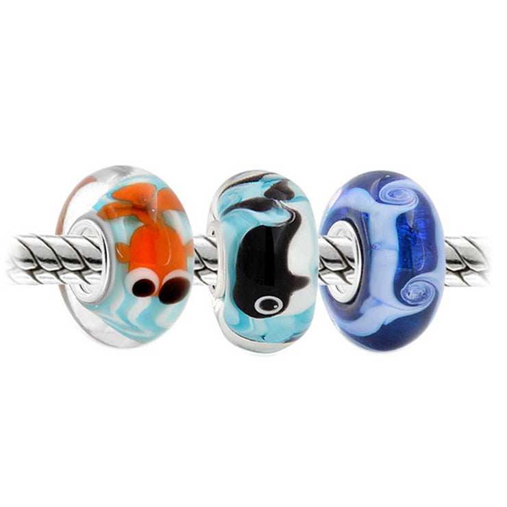 Wave Fish Whale Murano Glass Bead Charm Bundle Set 925 Sterling Silver