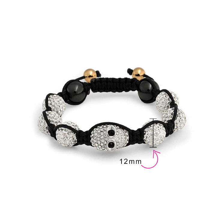 Skulls White Crystal Ball Shamballa Inspired Bracelet Black Cord
