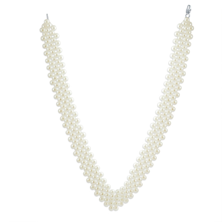 Bridal Collar Necklace V Shaped Imitation Pearl Rhodium Plated 16 Inch