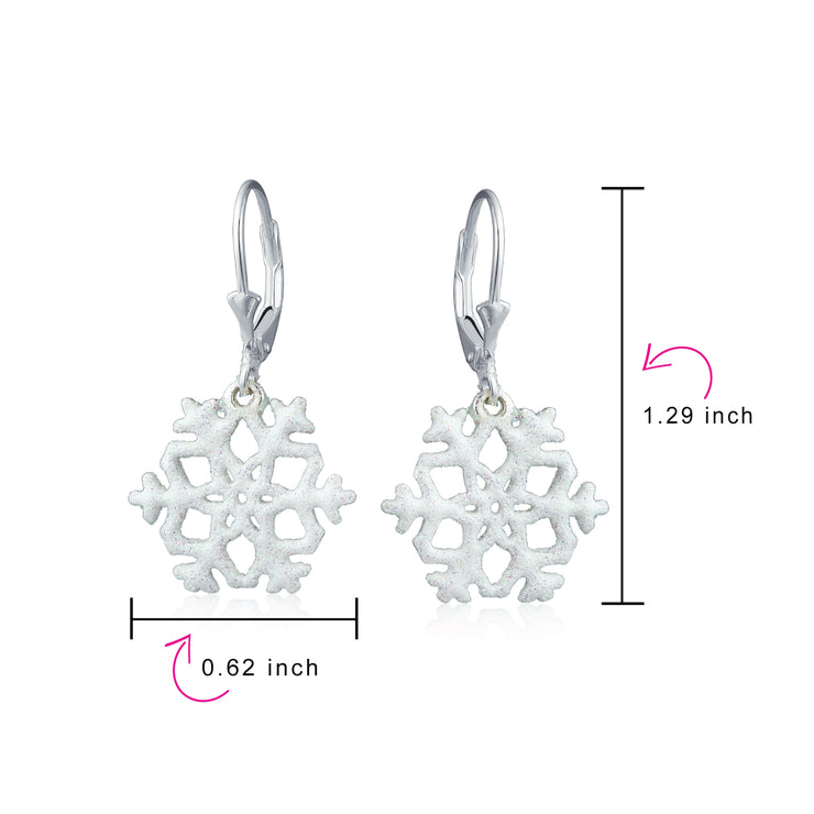 Winter Stardust Glitter Dangle Snowflake Earrings 925 Sterling Silver