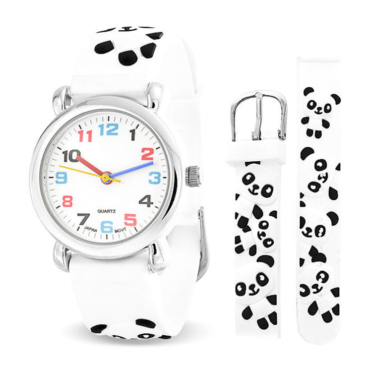 Black White Zoo Panda Wrist Watch Quartz 3D Cartoon Silicone Wristband