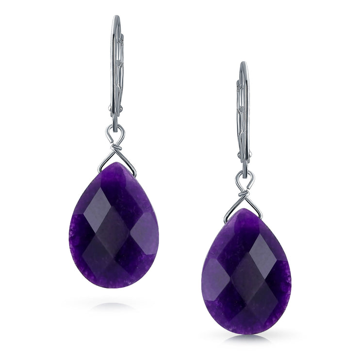 Gemstone Purple Amethyst Teardrop Dangle Earrings 925 Sterling Silver
