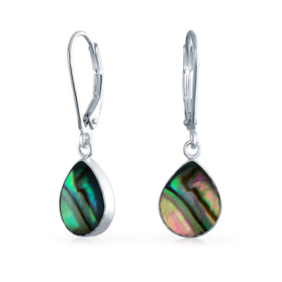 Abalone Teardrop Leverback Dangle Drop Earrings 925 Sterling Silver