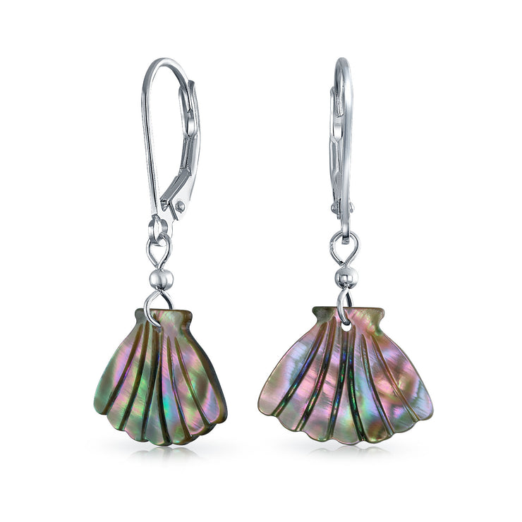 Carved Abalone Clam Dangle Leverback Earrings 925 Sterling Silver