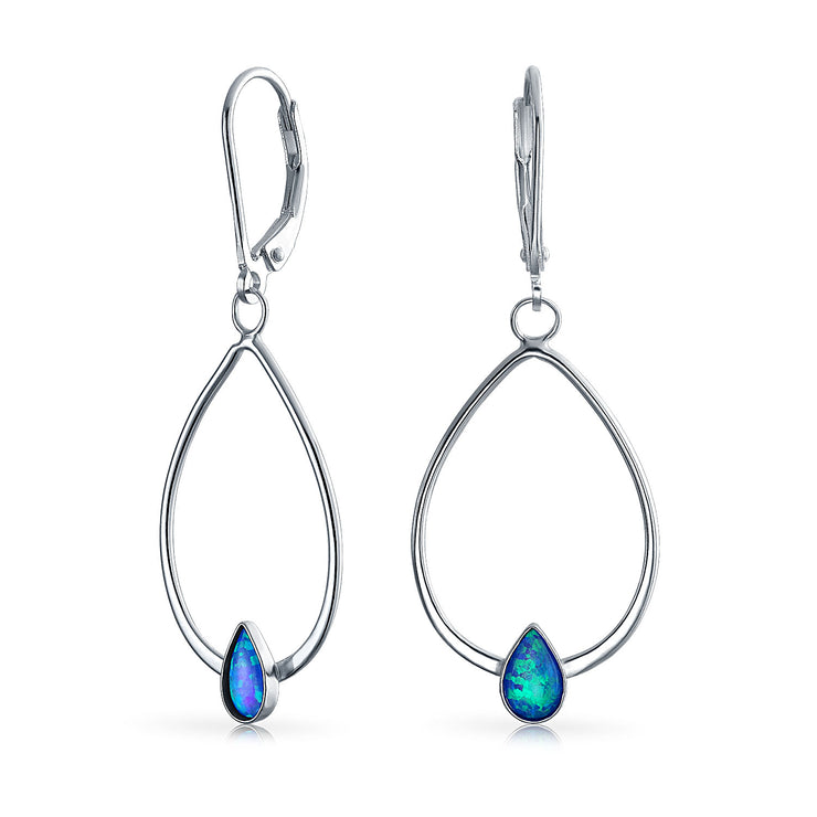 Created Blue Opal Leverback Oval Hoop Dangle Earrings Sterling Silver