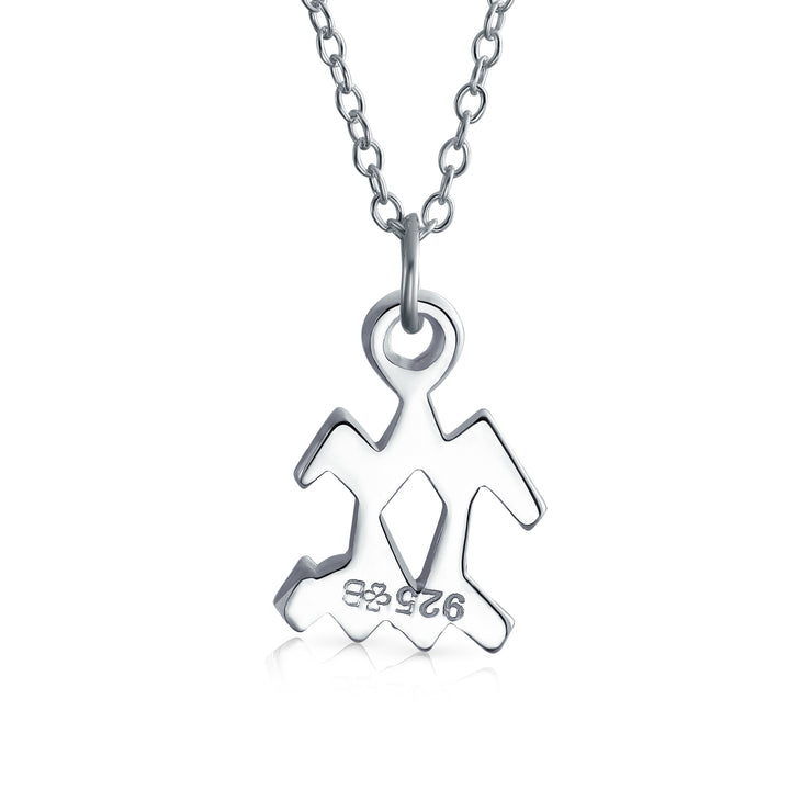 Simple Zodiac Astrology Horoscope Pendant Necklace 925 Sterling Silver