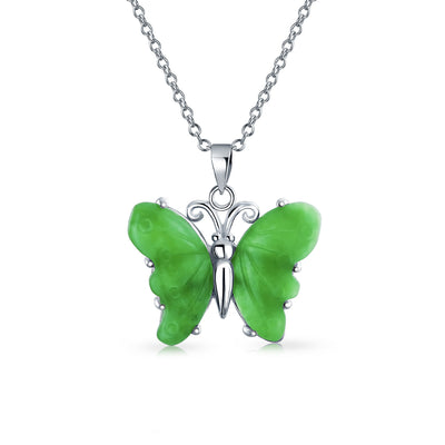 Butterfly Carved Green Jade Pendant Sterling Silver Garden Necklace