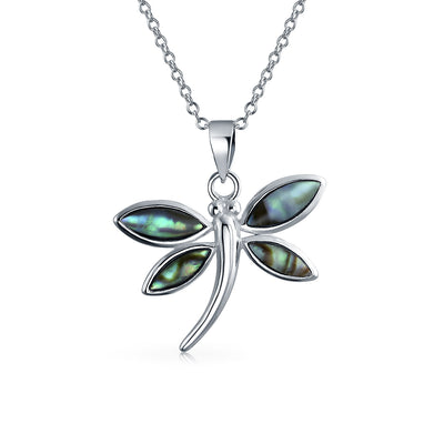 Butterfly Dragonfly Pendant Abalone Shell Necklace Sterling Silver