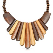 Artisan Tone Teak Wood Boho Fan Bib Collar Statement Necklace Woman