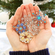 Large Swirl CZ Cubic Zirconia Scarf Christmas Snowflake Brooch Pin