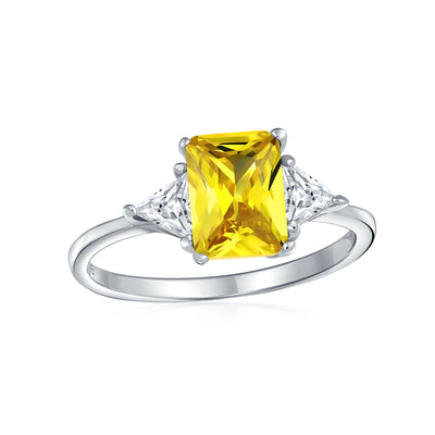3CT Canary Yellow Princess Cut AAA CZ Engagement Ring Sterling Silver
