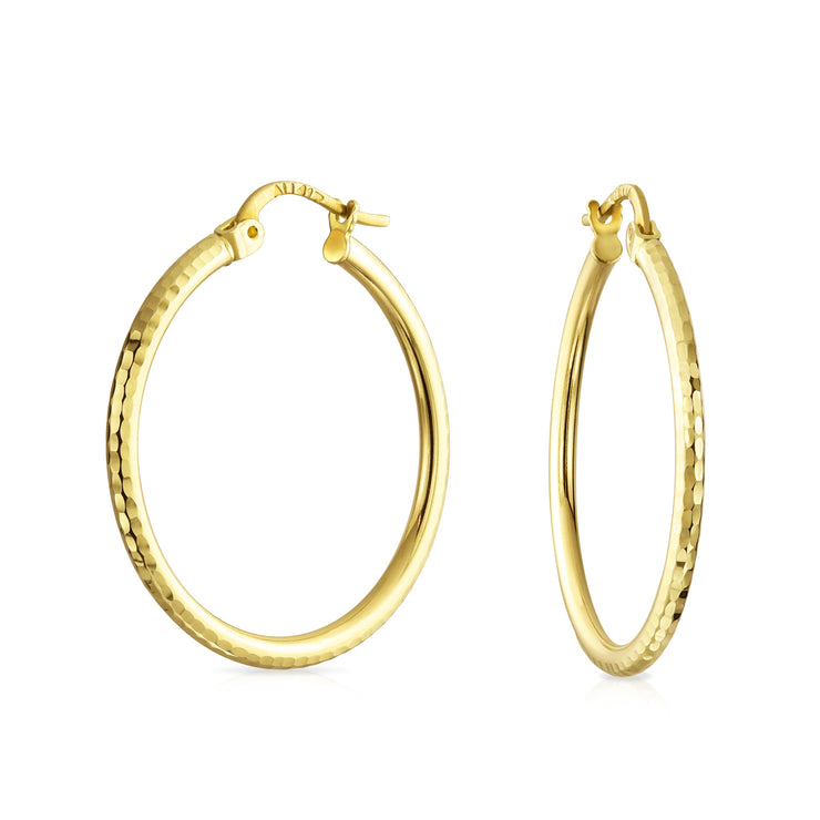 10K Real Yellow Gold Hammer Hoop Tube Earrings With Lever Posts Dia