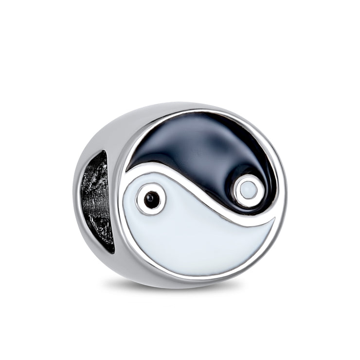 Black White Yin Yang Inspirational Charm Bead 925 Sterling Silver