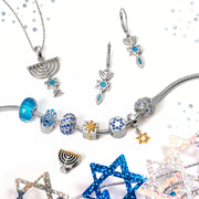 Menorah Star Jewish Pendant Blue Created Opal Necklace Sterling Silver