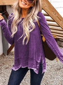 Plus Size Crew Neck Casual Long Sleeve blouse