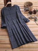 Plaid Long Sleeve Loose Crew Neck Plus Size Vintage Dress