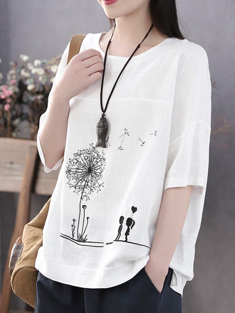 Summer Print Flower Casual Short Sleeve Cotton T-Shirt