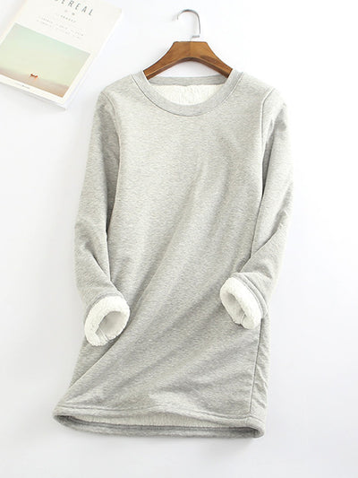 Blue Casual Fleece-Blend Round Neck Solid Long Sweatshirt