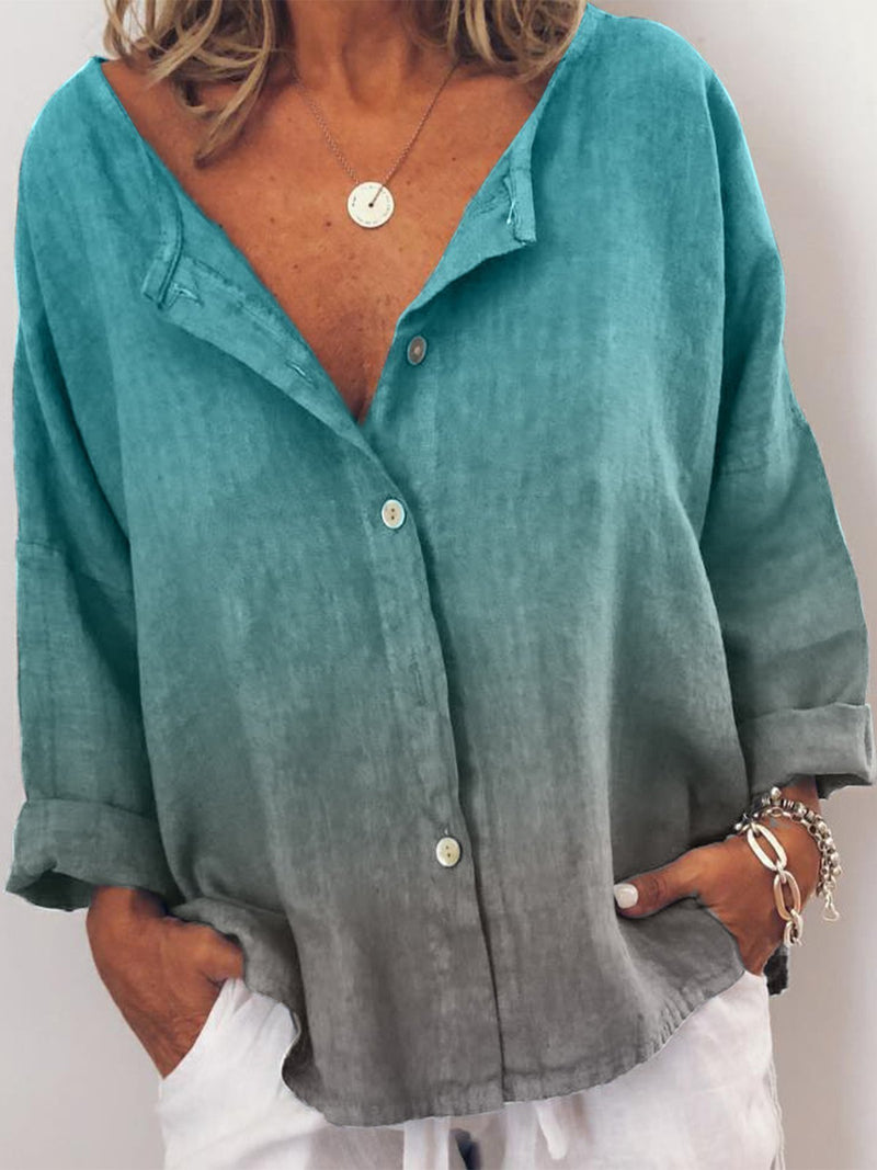 Plus Size V Neck Casual Long Sleeve Blouse