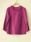 Casual Round Neck Long Sleeve Solid Blouse