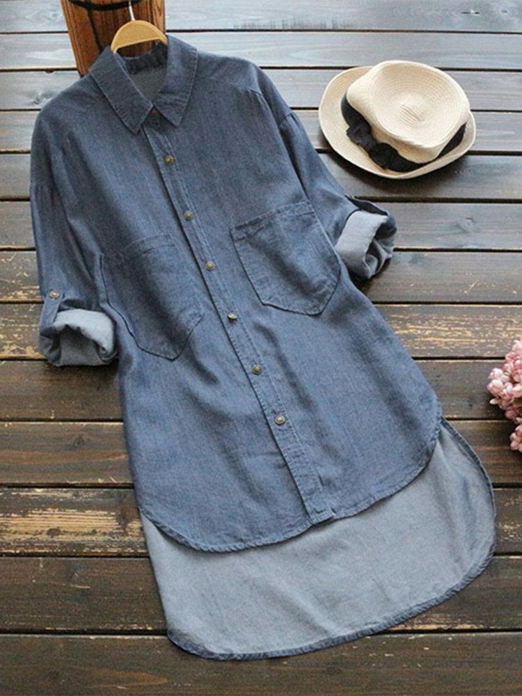 Denim Irregular Solid Color Long Sleeve Button Casual Shirt