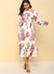 Long Sleeves Floral Print Pleated Dress
