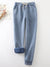 Blue Casual Elastic Solid Casual Warm Pants