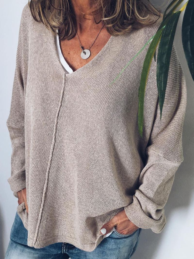 Plus Size Solid Casual V Neck Long Sleeve Tops