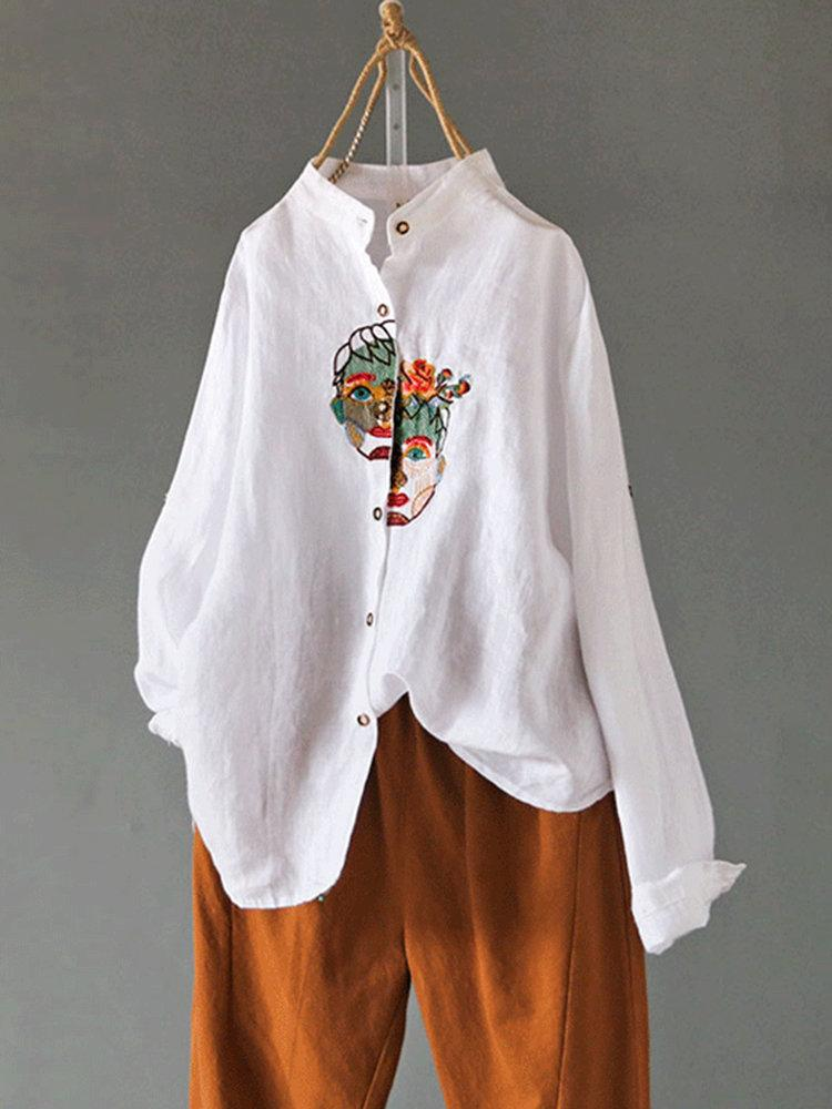 Vintage Embroideried Portrait Long Sleeve Casual Blouse
