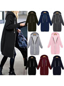 Plain Pockets Long Sleeve Plus Size Jacket - fashionnana