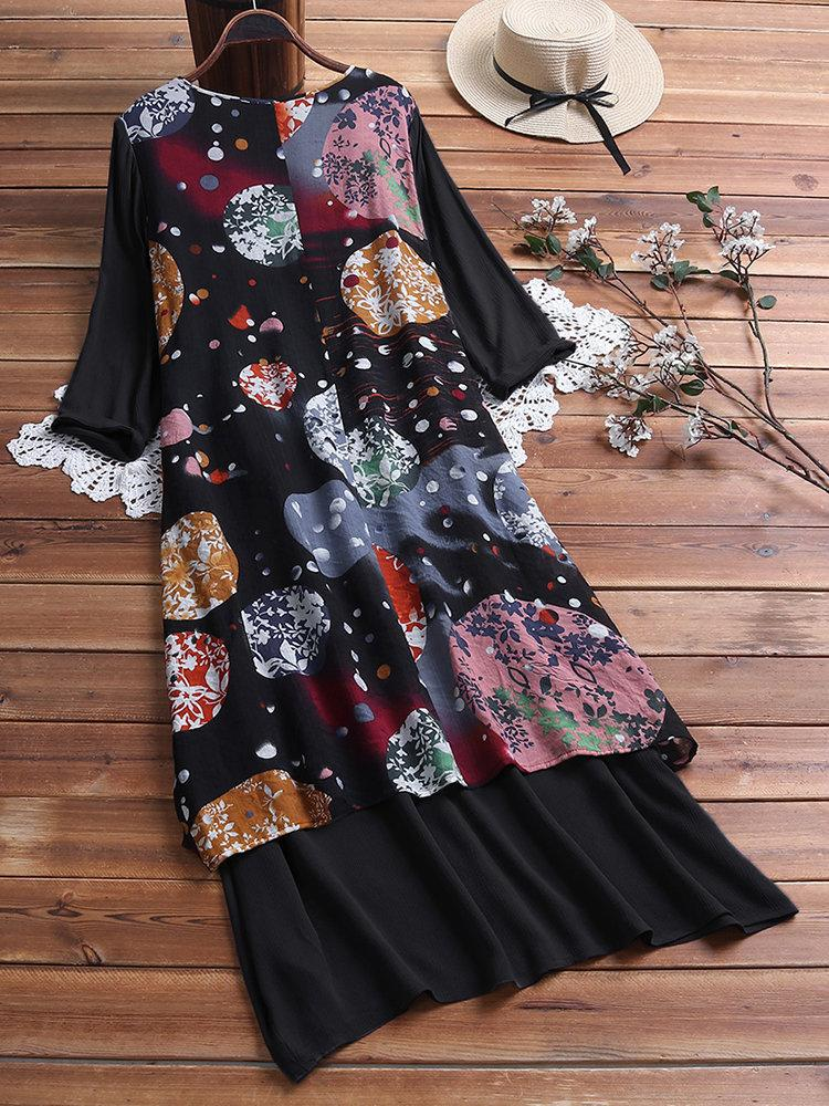 Vintage Print Layers High Low 3/4 Sleeve Plus Size Dress