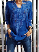 Patchwork Casual Shirts & Tops-Top-Wotoba-Royal Blue-S-Wotoba