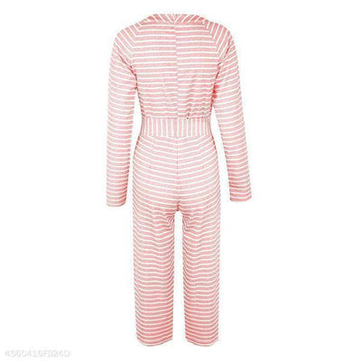 Stripe Long Sleeve Solid Color Jumpsuit