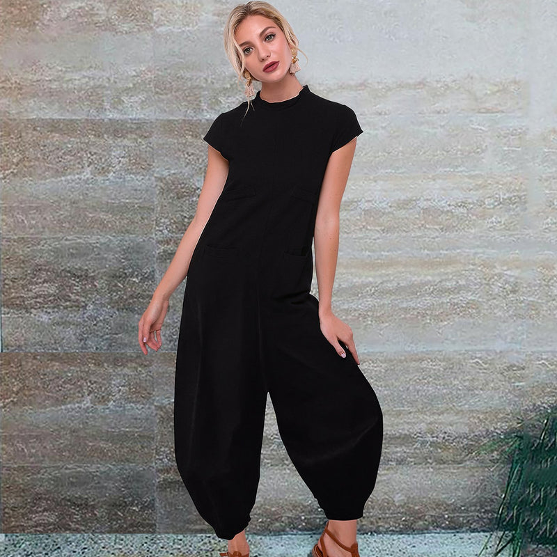 Casual Loose Solid Color Jumpsuit