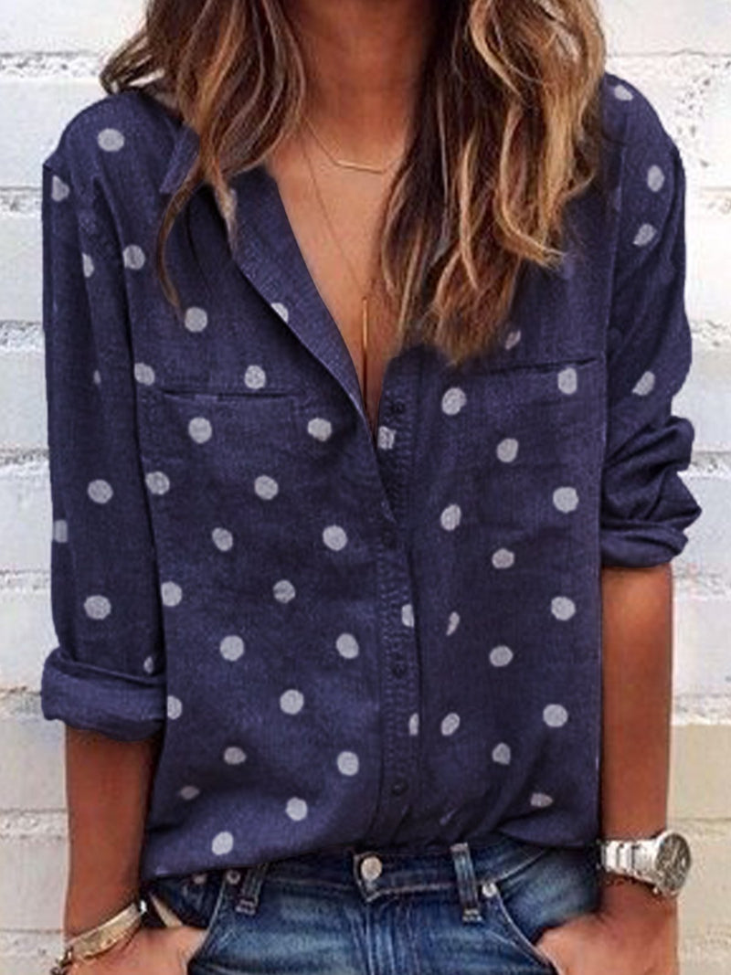 Floral-Print Long Sleeve Blouse