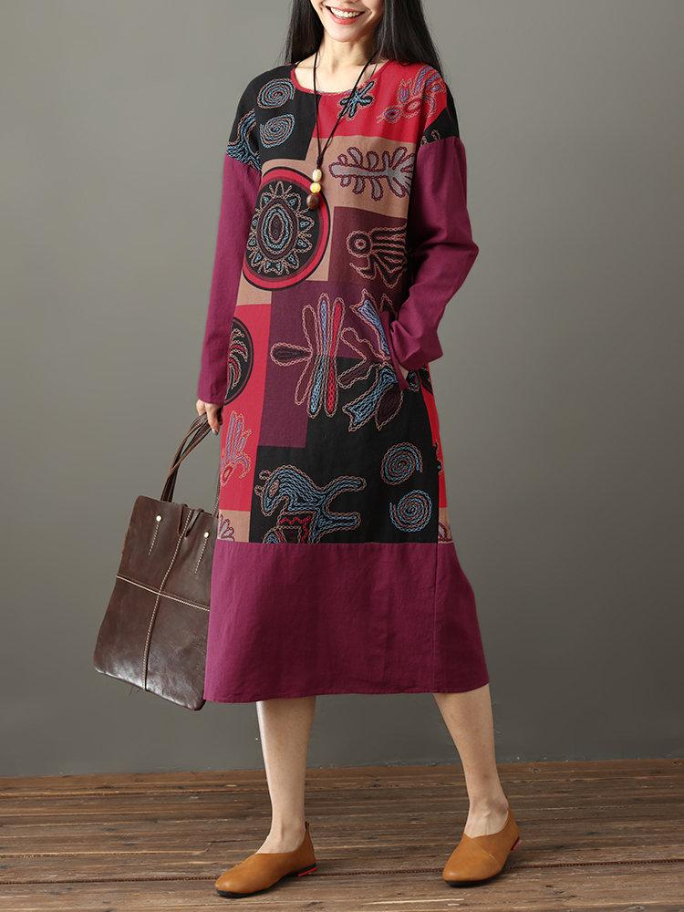 Folk Style Print Patchwork Long Sleeve Vintage Midi Dresses